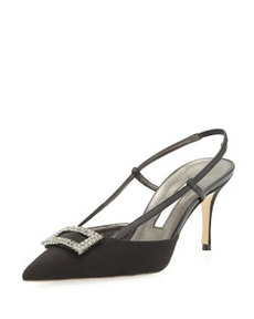 Savoy Crepe Crystal-Buckle Slingback Pump, Black   Savoy Crepe Crystal-Buckle Slingback Pump, Black