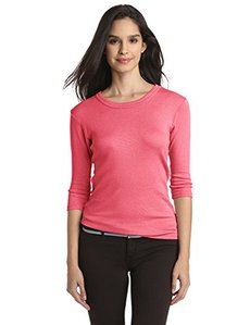 Michael Stars Women's Shine Basic 3/4 Sleeve Band Crew Tee