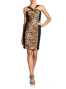 Carmen Marc Valvo Leopard-Print Ruched Silk Panel Dress