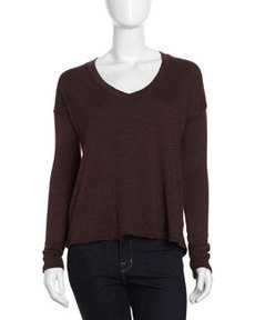 James Perse Boxy V-Neck Top, Eggplant