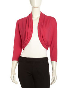 Lafayette 148 New York Ruched Shawl Collar Cardigan, Petunia