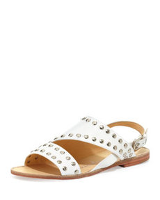 Nanette Lepore Double Time Studded Flat Leather Sandal, White