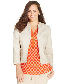 Jones New York Collection Plus Size Zip-Front Blazer