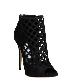 Jimmy Choo black suede latticework vamp back zip 'Dane Sue' peep toe booties