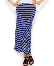 kensie A-Line Striped Maxi Skirt