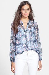 Joie 'Martine C' Split Neck Silk Blouse