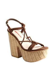 Prada Sport brown leather and rafia platform sandals