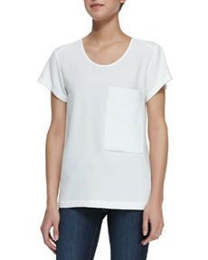 Short-Sleeve Leather-Pocket Tee, White   Short-Sleeve Leather-Pocket Tee, White