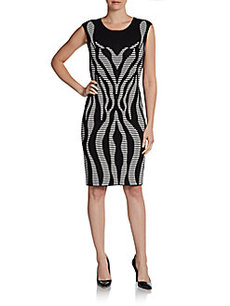 Calvin Klein Cap-Sleeve Graphic Knit Dress