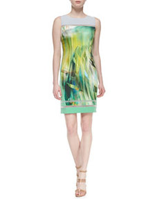 Tula Sleeveless Tropical-Print Sheath Dress   Tula Sleeveless Tropical-Print Sheath Dress