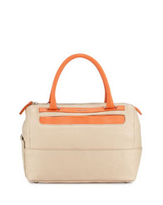 Furla Laila Pebbled Leather Satchel, Taupe/Deep Coral