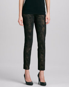Lafayette 148 New York Marbleized Glitter Straight-Leg Jeans