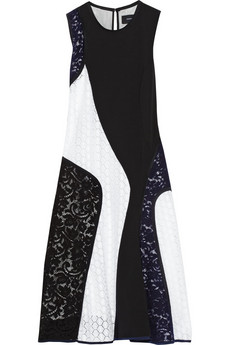 Derek Lam Paneled lace and jersey-crepe dress