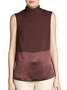 Brunello Cucinelli Mixed-Texture Silk Tank