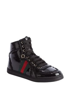 Gucci black patent leather and wool high top sneakers