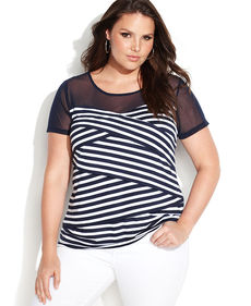 INC International Concepts Plus Size Short-Sleeve Striped Illusion Top