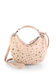 Jimmy Choo Stellar Crystal-Studded Leather Hobo