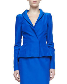 Peplum Faille Jacket, Lapis Blue   Peplum Faille Jacket, Lapis Blue
