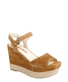 Prada Sport caramel suede and jute wedge sandals
