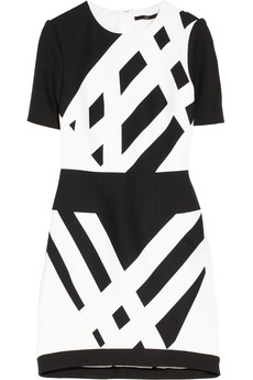 Tibi Geometric-print cotton-piqué and crepe dress