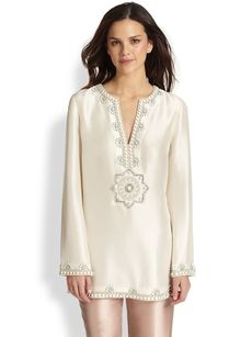 Tory Burch Embroidered Silk Steffi Tunic