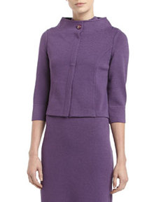 St. John Santana Knit Envelope-Collar Jacket, Plum