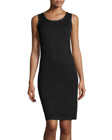 St. John Scallop-Trim Knit Tank Dress, Onyx