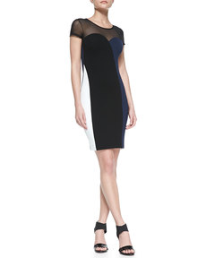 French Connection Rio Colorblocked Combo Sheath Dress, Black/White/Navy