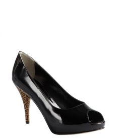 Fendi black patent leather zucca printed heel peep toe pumps