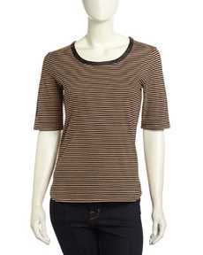 Joan Vass Faux-Leather-Trim Striped Tee, Black Combo