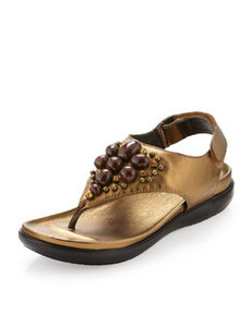 Donald J Pliner Hilton Metallic Beaded Thong Sandal, Bronze