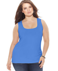 INC International Concepts Plus Size Square-Neck Tank Top