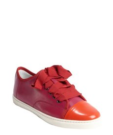 Lanvin pink and red leather cap toe sneakers