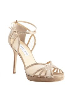 Jimmy Choo nude suede and glitter fabric strappy pumps