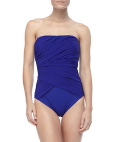 Gathered Bandeau One-Piece Swimsuit   Gathered Bandeau One-Piece Swimsuit