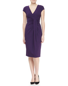 Michael Kors Jersey Faux-Wrap Dress, Blackberry
