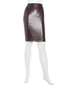 Lafayette 148 New York Georgette Sequined Silk Slim Skirt, Espresso