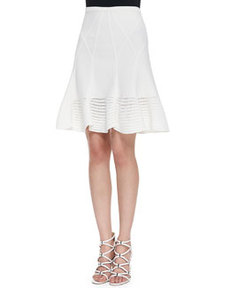 Samara Flared Crochet Hem Skirt, White   Samara Flared Crochet Hem Skirt, White