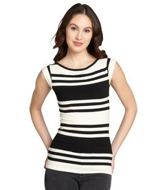 French Connection black and white striped cotton blend top