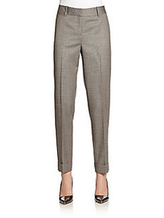 Lafayette 148 New York Perry Stretch Wool/Silk Cuffed Ankle Pants