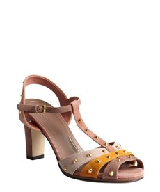 Gucci pink and khaki studded t-strap peep-toe sandals