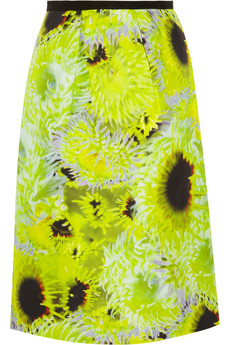 Tibi Athena neon silk, linen and cotton-blend skirt