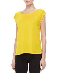 Michael Kors Silk High-Low Top, Sun