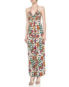 T Bags Geometric Print Braided Halter Maxi Dress