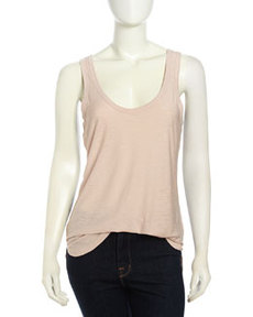 James Perse Ribbed Slub-Knit Tank Top, Puff