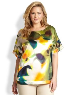 Lafayette 148 New York, Sizes 14-24 Silk Camira Top