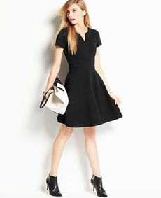Petite Split Neck Skirt Dress