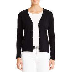 Essential Silk-Knit V-Neck Cardigan (Plus)
