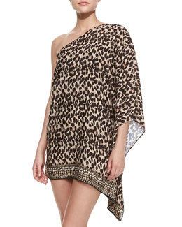 Leopard-Print One-Shoulder Coverup   Leopard-Print One-Shoulder Coverup