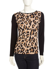 Isaac Mizrahi Animal-Print Long-Sleeve Tee